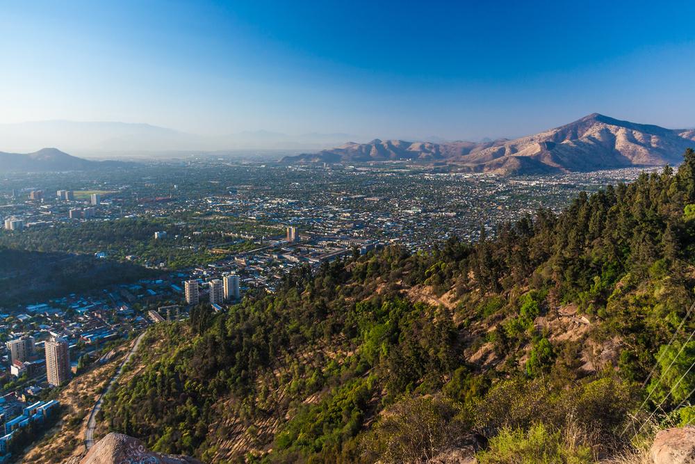 Aerial view of Santiago, Chile from Cerro Santa Lucia