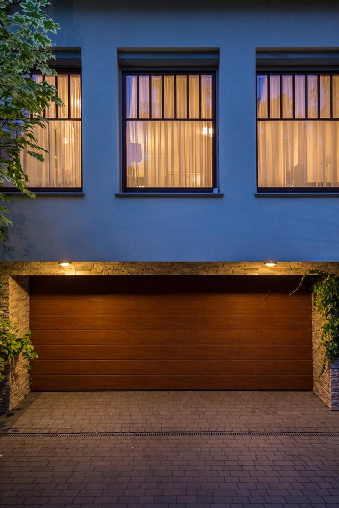 Wooden door to the garage of the house